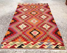 Diamond design rug kilim rug Vintage Turkish rug by PocoVintage