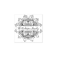 Shop Water Mandala Typography Return Address Rubber Stamp created by invintage. Personalize it with photos & text or purchase as is! Self Inking Address Stamp, Wood Stamp, Gift Labels, Custom Stamps, Return Address Labels, Ink Pads, Diy Cards, Wood Art, Laser Engraving