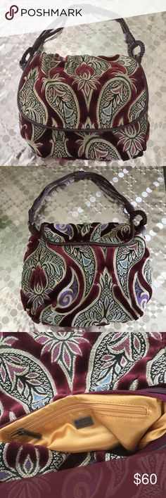 """Maxx New York Red Velvet Paisley Bag Beautiful, vibrant, and colorful! Zipped pocket inside. Super chic! Dimensions: 10""""x12""""x4"""", 20"""" strap Maxx New York Bags"""