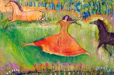 Painting by Judith Shaw   Small Print Goddess Art - She Runs With Horses - Celtic Goddess Medb/Maeve was reputed to run faster than horses.  $25