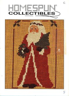 Homespun Collectibles 5 Santa Holding Tree And Wreath Counted Cross Stitch OOP #HomespunCollectibles
