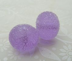 Lampwork Glass Beads Lavender Snowball by shineon2 on Etsy, £3.00