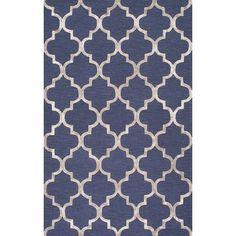nuLOOM Contemporary Handmade Wool/Viscose Trellis Navy Rug (9' x 12')
