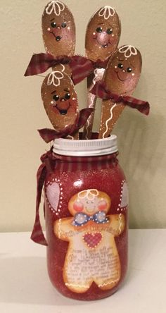 New Gingerbread Spoons in Red Quart Jar Housewarming Holiday Christmas Home Decor Ginger Lover Handpainted Cottage Chic Ready To ShipFantastic Christmas Mason Jar DIY: Santa and Elf Candy Jar Gingerbread Christmas Decor, Gingerbread Crafts, Gingerbread Decorations, Christmas Wood, Homemade Christmas, Christmas Projects, Holiday Crafts, Christmas Decorations, Gingerbread Men