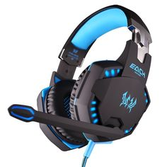 EACH G2100 Pro Stereo Surround Computer Gaming Headphone Wired Over-Ear Noise Canceling Gamer Headset With Microphone LED Light