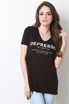 Short Sleeve Depresso Graphic Print Top