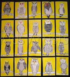 (texture/ pen and ink technique) i like the yellow background – Kunstunterricht Fall Art Projects, Animal Art Projects, School Art Projects, Owl Art, Bird Art, Artists For Kids, Art For Kids, Arte Elemental, 2nd Grade Art