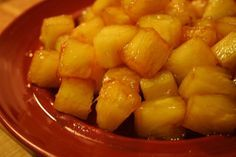 Caramelized Pineapple! (made this tonight for desert with vanilla ice cream....and I soaked the pineapple in Malibu Rum before frying in butter. So so so gooood!**)