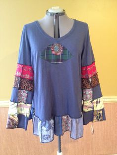 RESERVED for Pamela Harry and The Hippe Chic Upcycled Hippy Patchwork Floral Tie Dye Tunic Top