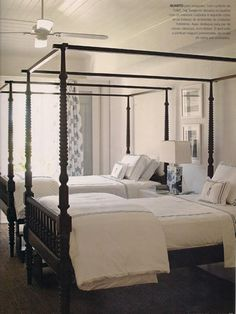 Love this bedroom. Love the colors, love the four poster beds. Love. Sig Bergamin