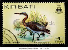 KIRIBATI - CIRCA 1982: A 20-cent stamp printed in the Republic of Kiribati shows the reef heron bird, Egretta sacra, circa 1982 - stock photo