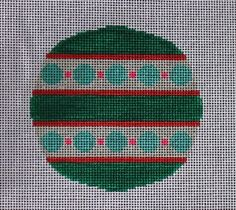 Little Bird Designs RO-005 Teal and Pink with Circles #modernneedlepoint