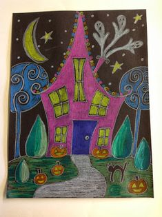 Halloween haunted houses art project - cool effect by coloring over black construction paper