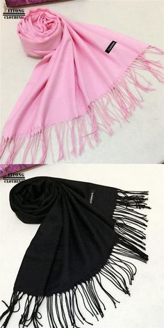 cfe36729cf75e Women Winter Warm Tassel Cashmere Solid Long Shawl Wrap Scarf echarpe hiver  femme
