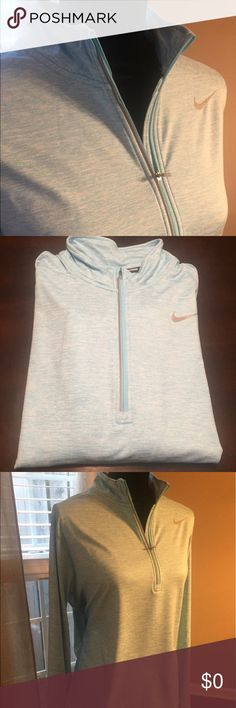 Brand New Nike DRI-FIT Tech Pull Over!! Love these pull overs from Nike!! I wish the pic showed how soft they are. I several of these including this one in aqua blue and white. Lightweight  and great for year round use. They include several reflective areas that are great for use in the dark. These are brand new with tags and never worn. I am down to my last one get it while it last.:) Nike Tops Sweatshirts & Hoodies