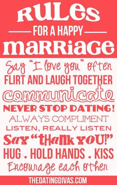 Rules for a happy marriage!