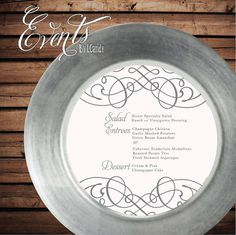 Blush & Grey Scroll Plate / Charger by Eventsbyicandy on Etsy, $1.00