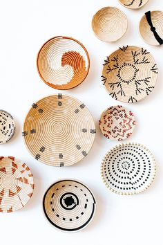 """This sisal woven basket is approximately 12"""" in diameter and woven by our artisans in Gitarama, Rwanda. The sisal is woven around sweetgrass, a fragrant grass with a subtle sweetness. In addition to making a beautiful table display, these baskets can also be hung as art. About Amsha...""""Based in Portland, Oregon, Amsha works directly with artisans across Africa. We focus on driving social change in underserved communities by bringing quality, ethically made goods to the marketplace. We know this Hallway Mirror, Floor Mirror, Earthy Home, Boho Makeup, Rustic Crafts, Boho Bathroom, Boho Designs, Baskets On Wall, Basket Weaving"""