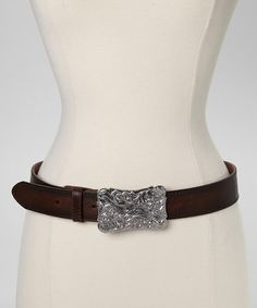 Brown & Silver Floral Leather Belt by I Love Accessories #zulily #zulilyfinds