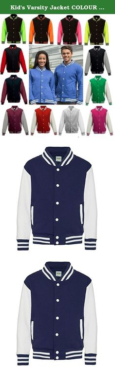 "Kid's Varsity Jacket COLOUR Oxford Navy/White SIZE 7 TO 8. 80% cotton/ 20% polyester. Press-stud closure with contrast studs. Knitted collar, cuffs and waistban with stripe detail. Contrast long sleeve. Taped back neck. Hanging loop at back of neck. Two welt pockets. Small opening in pocket for ear cord feed. Hidden ear phone loops. WRAP Certified Production. Weight: 330 gsm. Size Specifications 3-4 5-6 7-8 9-11 12-13 To Fit Chest (Inches) 26"" 28"" 30"" 32"" 34""."