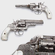 "Engraved Merwin & Hulbert – One gun that traveled from Missouri to Oregon in the 1880s is this engraved Merwin & Hulbert .38 revolver. Featuring ""punch dot"" and some finer engraving, this double-action also incorporated a folding hammer spur to for ease of pocket carry.  The mother-of-pearl grip panels weathered several moves around the west without chipping despite being carried daily by rancher Marshall Fisher."