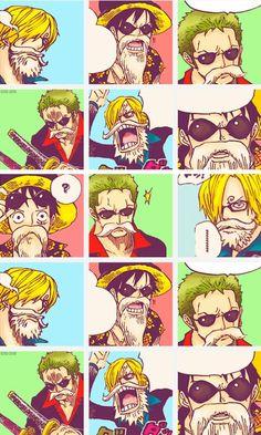 One Piece lock screen Luffy Zoro Sanji Monster trio