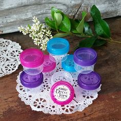 12 Clear Jars Purple Pink Aqua Caps Small Plastic Containers 1Tbl 1/2 oz  #3803  #DecoJars