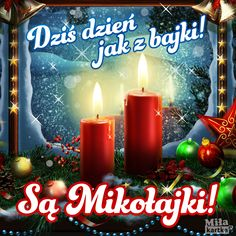 Dzień jak z Bajki #mikołajki #mikolaj #kartka #pocztówki #polska #życzenia #świąteczne #święto #zima #santa #poland #pozdrawiam All Things Christmas, Merry Christmas, Christmas Ornaments, Fun Learning, Pillar Candles, Birthday Candles, Humor, Holiday Decor, Frases