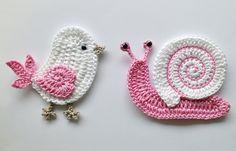 Apliques en crochet: el pájaro y el caracol.                              …