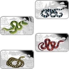 This set of 4 rectangular silver collectible coins from the Perth Mint (legal tender in the Cook Islands) celebrate 2013 being the Year of the Snake in the lunar calendar.