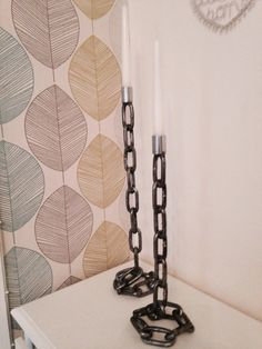 Candle stick holders made from chain
