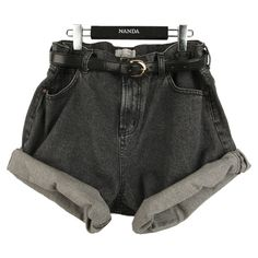 black high waisted denim shorts ❤ liked on Polyvore featuring shorts, bottoms, pants, black, denim short shorts, high-waisted jean shorts, high-waisted shorts, high-rise shorts and highwaist shorts
