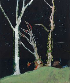 Peter Doig, 'Figures at Night', Oil on stretched paper, x Image courtesy of the artist and Michael Werner Gallery Peter Doig, Illustrations, Illustration Art, Naive Art, American Artists, Contemporary Art, Artsy, Photos, Art Prints
