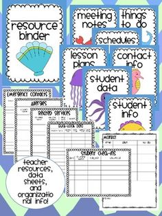 ocean themed teacher resource binder- student forms, lesson plans, logs, data templates, and much more!