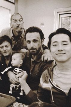 The cast clowns around behind the scenes of AMC's The Walking Dead. (L-R: Norman Reedus, Jon Bernthal, Andrew Lincoln, Steven Yeun) Zombies The Walking Dead, Fear The Walking Dead, Walking Cast, Andrew Lincoln, Norman Reedus, Steve Yeun, The Walk Dead, Jon Bernthal, Dead Man