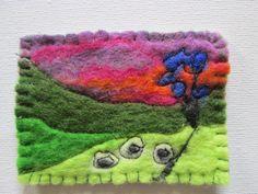 original textile aceo felt sunset felt art by SueForeyfibreart Wet Felting, Needle Felting, Free Machine Embroidery, Hand Embroidery, Country Landscaping, Blanket Stitch, Felt Art, Wool Felt