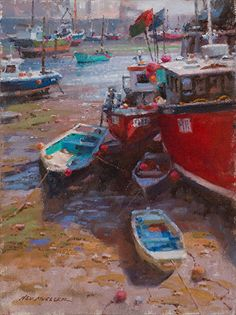 """""""Sunday Morning - Mevagissey, England"""" by Ned Mueller, Renton, WA - LPAPA's Signature Member of the Month, December 2015 Boat Painting, Sunday Morning, Fishing Boats, Impressionism, Gallery, Paintings, Artist, Artwork, December"""