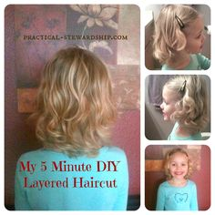 5 Minute #DIY Layered #Kids #Haircut - may have to try this out.