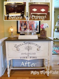 Antique Sideboard Before, During and After with Chalk Paint® decorative paint by Annie Sloan and graphics from The Graphics Fairy   By Nancy of Artsy Chicks Rule