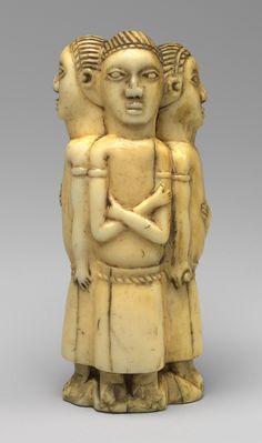 Figurine: Three Males, 18th-20th century Democratic Republic of Congo, Loango Region, Kongo peoples Ivory