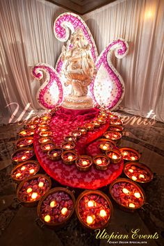 Beautiful Utopian Events Ganesh Table for your Welcome Area, Linens, Drapes, Wedding Drapery, Backdrop, Paisley Backdrop, Rose Petals, Candlea, Beautiful Entrance