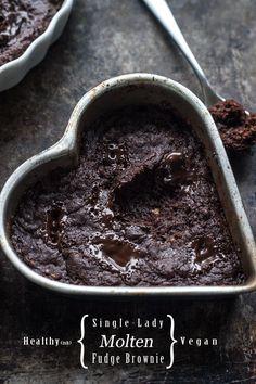 Healthy(ish) Single-Lady, Vegan, Molten Fudge Brownie (with gluten free version)