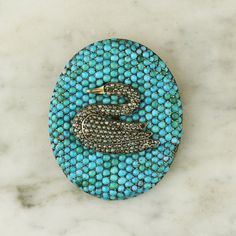 Victorian Turquoise and Pearl Swan Brooch / Pin in Gold and Sterling Silver