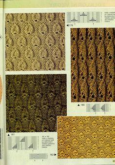 "Photo from album ""Verena № 2 2002 Спец выпуск УЗОРЫ"" on Yandex. Lace Knitting Stitches, Lace Knitting Patterns, Cable Knitting, Knitting Charts, Knitting Socks, Free Knitting, Stitch Patterns, Booties Crochet, Montevideo"