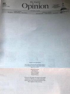 The Opinion page of today's Capital Gazette, where five were killed yesterday.