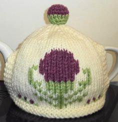 Scottish thistle hand knitted tea cosy one of by peerietreisures, £10.50