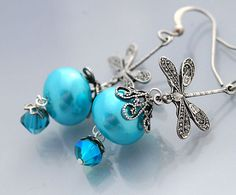 Turquoise Dragonfly Earrings  Aqua Glass  by shalayneoriginals, $24.99