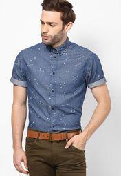 30fe12c4 Buy Jack & Jones Blue Printed Slim Fit Casual Shirt Online - 4909412 -  Jabong