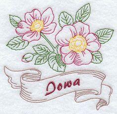 Iowa Prairie Rose State Flower Flour Sack by EmbroideryEverywhere