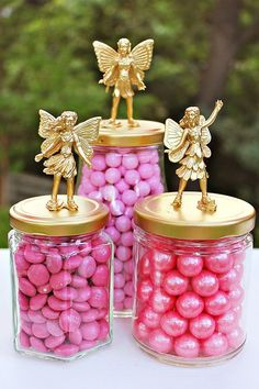 Sweets inside jars with fairies - so cute #wedding #woodland #pink #gold #desserttable